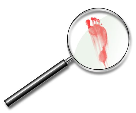 Illustration of red traces of a foot under a magnifier