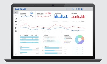 Illustration for Realistic dark laptop mock up with analytics dashboards. Charts and graph. Business, financial and digital marketing - Royalty Free Image
