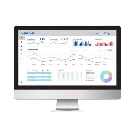 Illustration pour Online statistics and data Analytics. Digital marketing and trading templat enad mock up.  - image libre de droit