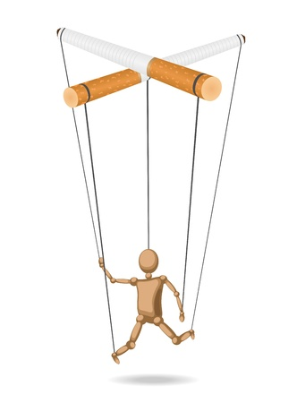Marionette suspended for cigarettes (concept) is isolated from the background