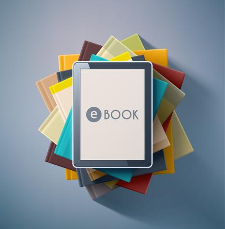 E-book, stack of books
