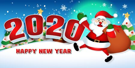 Illustration for Happy new year 2020 with santa claus cute cartoon.for Christmas and New Year background.vector illustration - Royalty Free Image