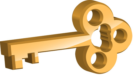 Golden key on white background