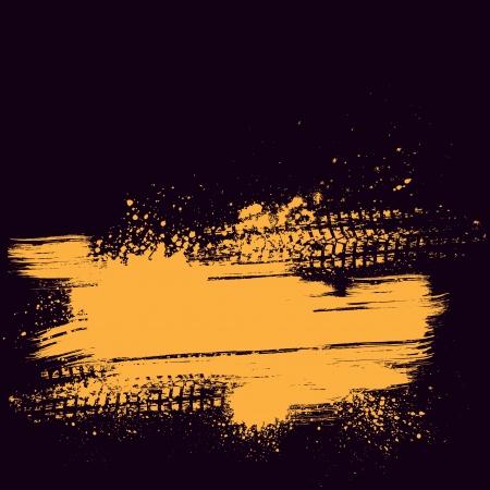 Illustration pour Orange tire track background - image libre de droit