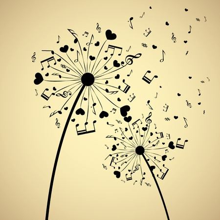 Background with dandelion and hearts.