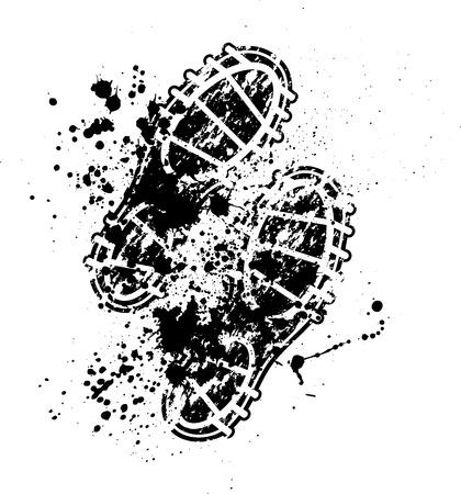 Illustration pour Shoes print ink blots - image libre de droit