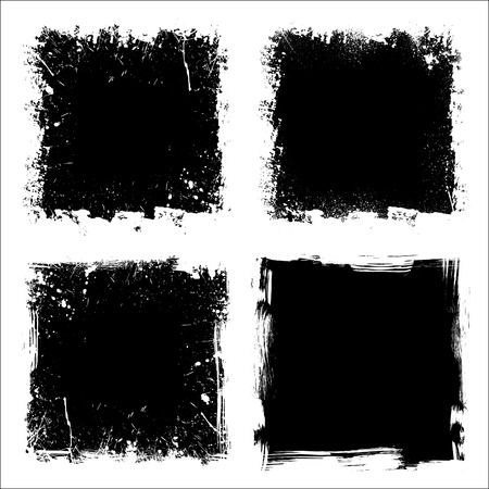 Set of four black grunge square backgrounds. eps10