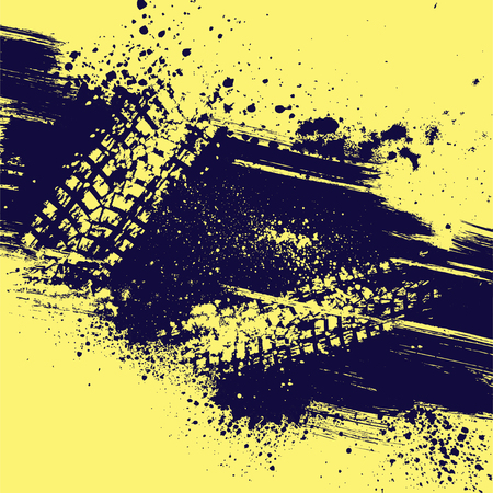 Yellow background with tire track and grunge splash. eps10