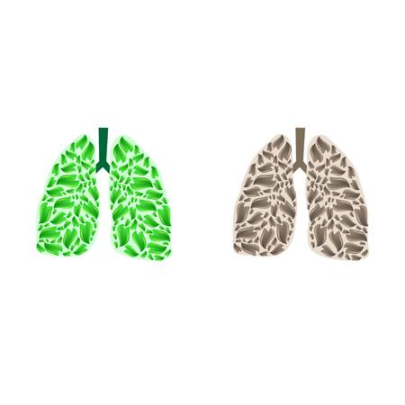 Illustration pour Lungs silhouette with leaves - image libre de droit