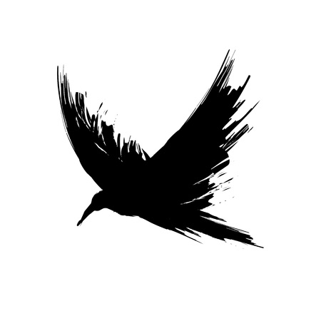 Black grunge brush raven silhouette isolated on white background