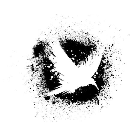 White grunge brush raven silhouette isolated on black ink splash blots