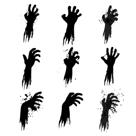 Illustration pour Set of nine black grunge zombie hands isolated on white background - image libre de droit