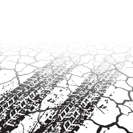 Illustration for White cracked background with grunge tire tracks - Royalty Free Image
