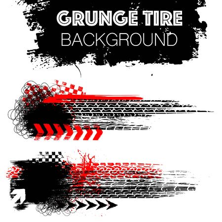 Illustration for Two grunge elements with black and red tire tracks isolated on white background - Royalty Free Image