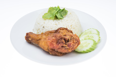 Fried Chicken With Rice Isolated On White Background