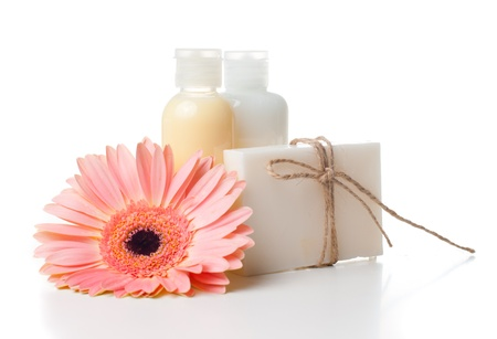 Composition of products for spa, body care and hygiene on a white background