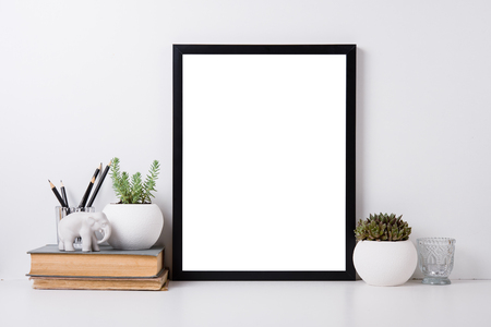 Photo for Modern home decor with frame and interior objects, design ready poster mock-up - Royalty Free Image