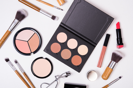 Professional makeup brushes and tools, make-up products kit, flatlay on white backgroundの写真素材
