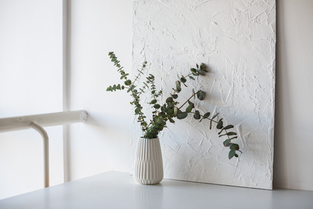 Branches in vase on table in white room