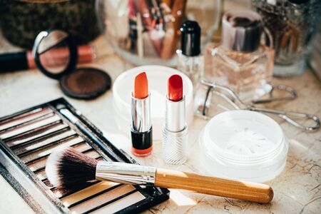 Photo for Real professional makeup tools and acessories, brushes and lipsticks on artist's table close-up - Royalty Free Image