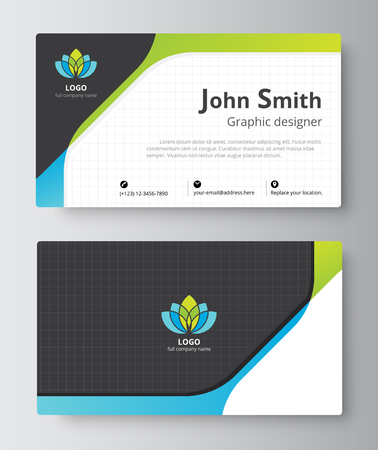 Business greeting card template design. introduce card include sample text position. vector illustration design.