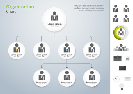 Illustration pour Vector modern and simple organization chart template. vector illustration. - image libre de droit