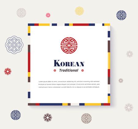 Korean traditional frame design. strip color design frame. vector illustration.
