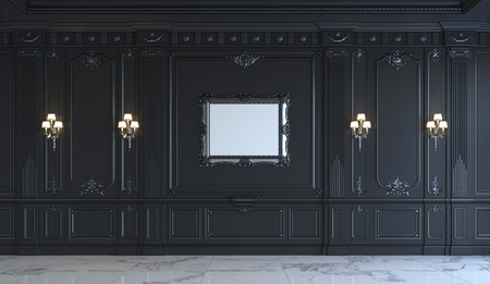Black wall panels in classical style with silvering and frame. 3d rendering
