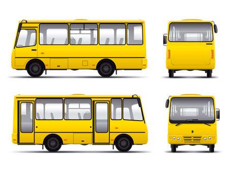 Illustrazione per yellow minibus vector draft template isolated over white background - Immagini Royalty Free