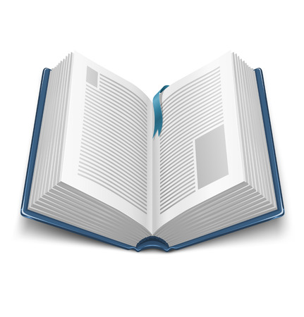 Illustration pour opened book with blue cover and mark - vector illustration - image libre de droit