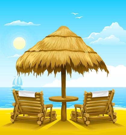 Ilustración de two beach deck-chairs under wooden umbrella - vector illustration - Imagen libre de derechos