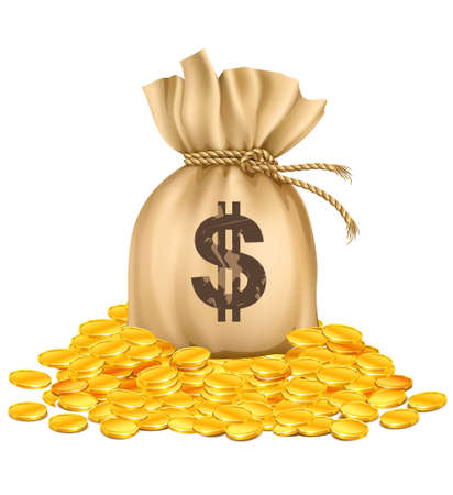 Illustration for bag with dollars money on pile of golden coins - vector illustration, isolated on white background - Royalty Free Image