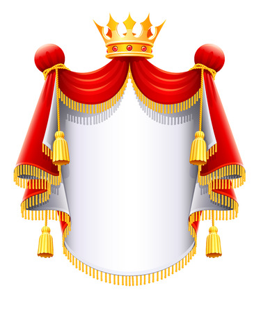 Illustration for royal majestic mantle with gold crown vector illustration isolated on white background - Royalty Free Image