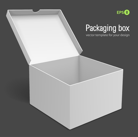 open packing box vector illustration isolated on grey background