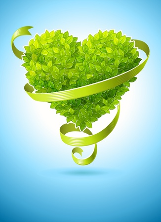 Photo for ecology concept with heart of green leaves and ribbon - Royalty Free Image