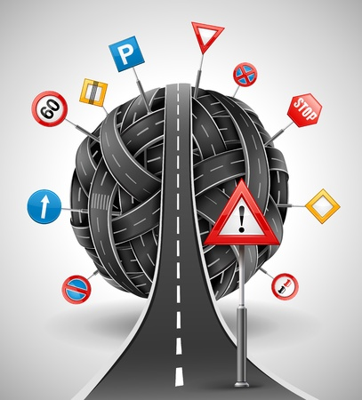 tangle ball of roads with signs illustration