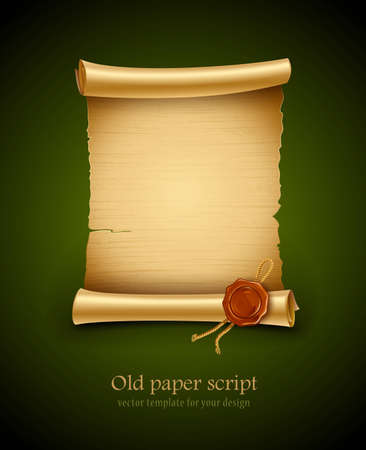 old blank paper script background with stamp