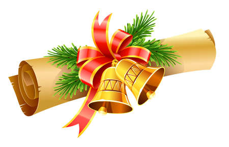 Illustration for gold christmas bells with red bow and paper scroll vector illustration isolated on white background - Royalty Free Image