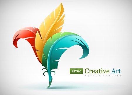 Photo for creative art concept with color red yellow and blue feathers. Vector illustration EPS10. Transparent objects used for shadows and lights drawing. - Royalty Free Image