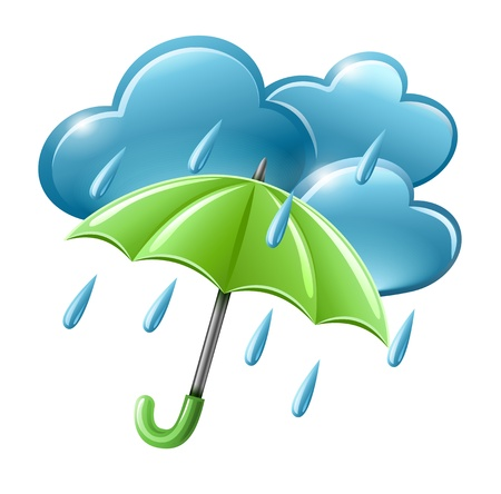 Illustration for rainy weather icon with clouds and umbrella illustration isolated on white background. Transparent objects used for shadows and lights drawing. - Royalty Free Image