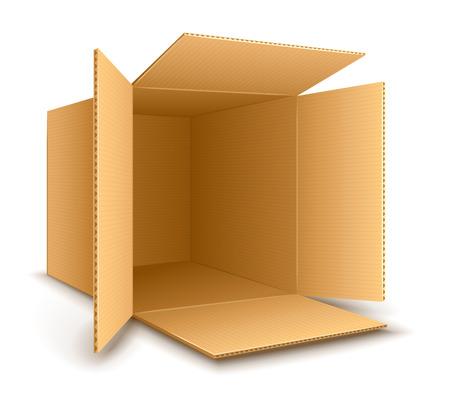 Illustration pour Open empty cardboard box.  - image libre de droit
