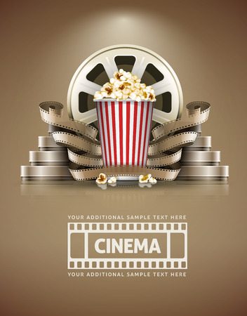 Illustration pour Cinema concept with popcorn and cinefilmss retro style.  - image libre de droit