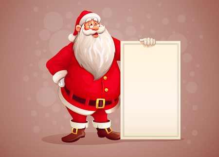 Photo pour Merry Santa Claus standing with christmas greetings banner in arm. vector illustration - image libre de droit