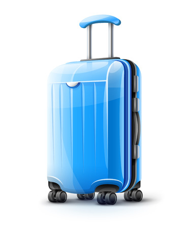 Illustration for Blue modern suitcase for travel, case icon isolated on white transparent background. EPS10 vector illustration - Royalty Free Image