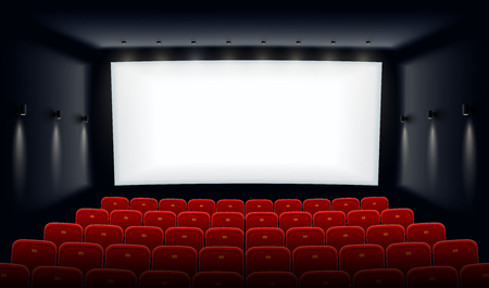 Illustration for Empty movie theatre. Cinema hall with white screen and red chairs. Modern movies theater for festivals and films presentation. Interior design. Online cinema concept. Vector illustration. - Royalty Free Image