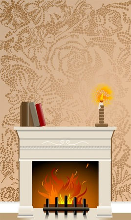 Fire place featuring wallpaper background made of flowers