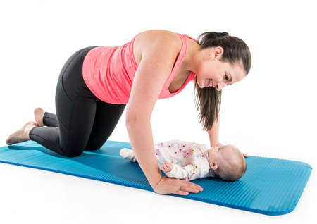 Foto für Sport motherhood and active lifestyle of young mother workout together with her baby - Lizenzfreies Bild