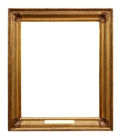 Photo pour Picture gold wooden ornate frame for design on white isolated background - image libre de droit