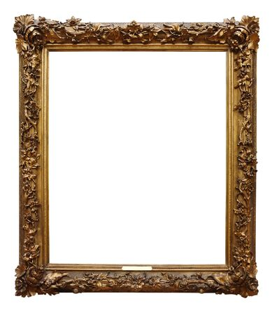 Photo pour Picture gold wooden frame for design on white isolated background - image libre de droit