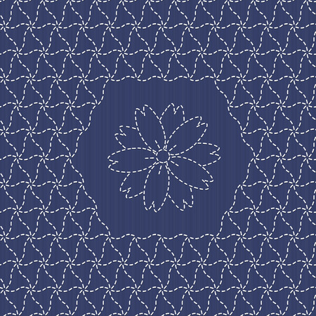 Traditional Japanese Embroidery Ornament with sakura flower.のイラスト素材